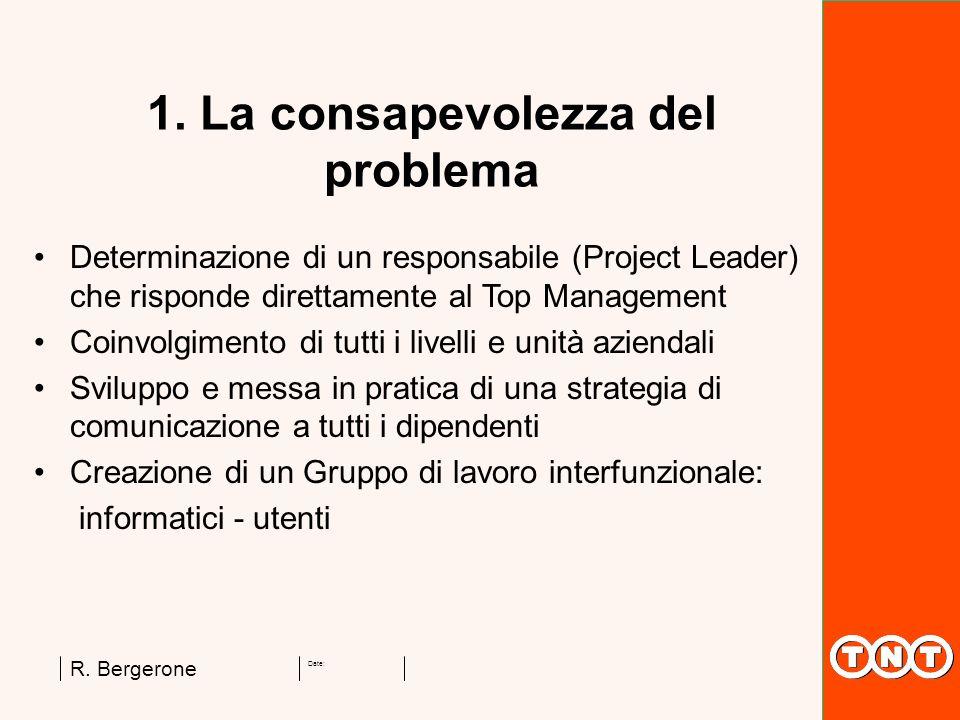 Date: R. Bergerone 1. La consapevolezza del problema Determinazione di un responsabile (Project Leader) che risponde direttamente al Top Management Co