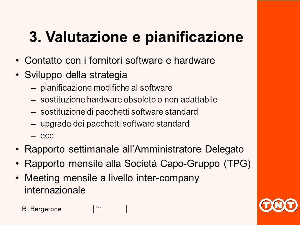 Date: R. Bergerone 3. Valutazione e pianificazione Contatto con i fornitori software e hardware Sviluppo della strategia –pianificazione modifiche al