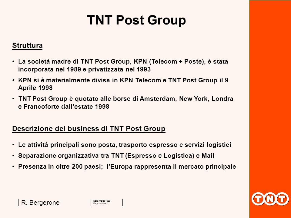 Date: Marzo 1999 Page number: 2 R. Bergerone TNT Post Group Struttura La società madre di TNT Post Group, KPN (Telecom + Poste), è stata incorporata n