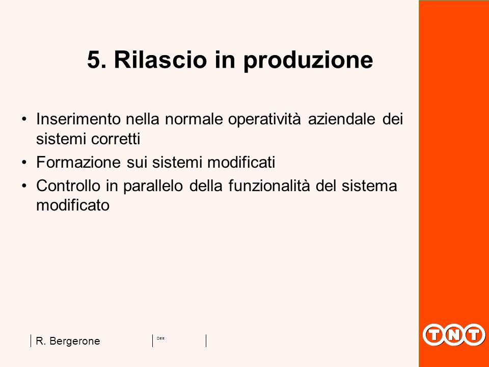 Date: R. Bergerone 5. Rilascio in produzione Inserimento nella normale operatività aziendale dei sistemi corretti Formazione sui sistemi modificati Co