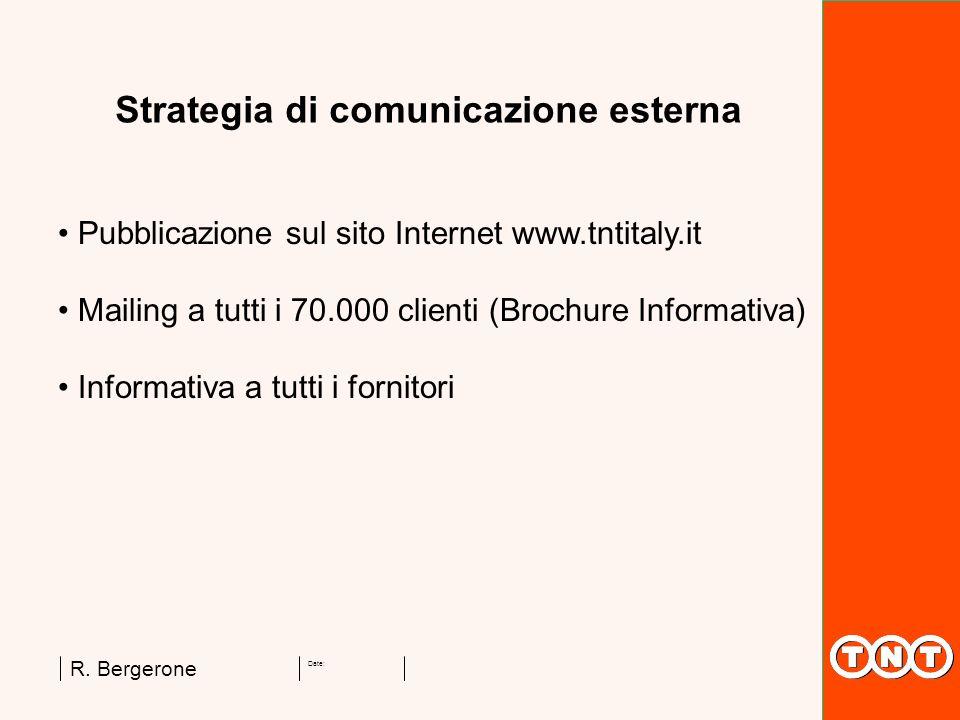 Date: R. Bergerone Strategia di comunicazione esterna Pubblicazione sul sito Internet www.tntitaly.it Mailing a tutti i 70.000 clienti (Brochure Infor