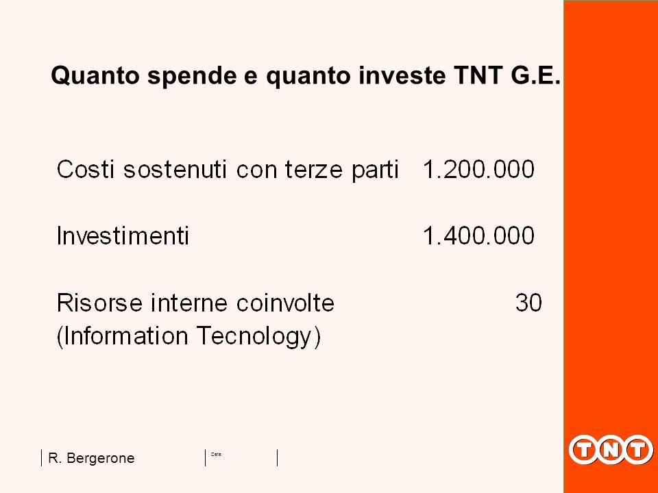 Date: R. Bergerone Quanto spende e quanto investe TNT G.E.