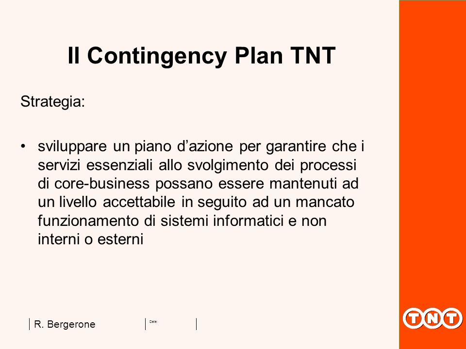 Date: R. Bergerone Il Contingency Plan TNT Strategia: sviluppare un piano dazione per garantire che i servizi essenziali allo svolgimento dei processi