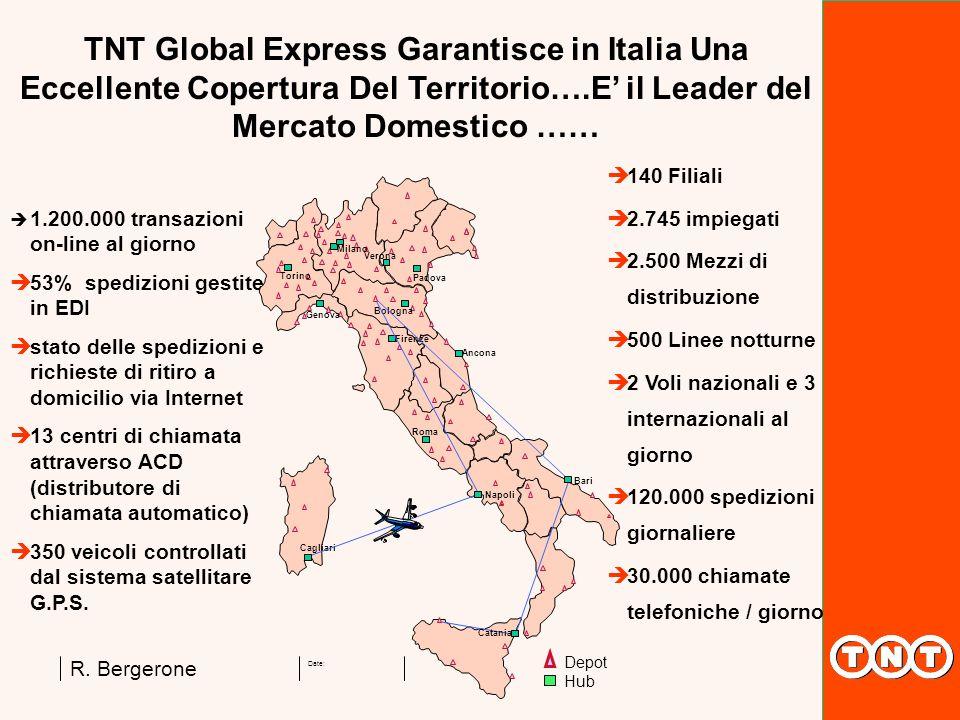 Date: R. Bergerone TNT Global Express Garantisce in Italia Una Eccellente Copertura Del Territorio….E il Leader del Mercato Domestico …… 1.200.000 tra
