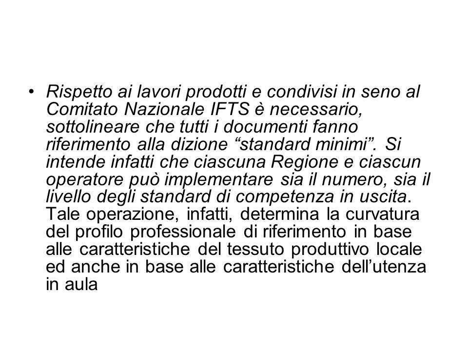 Rispetto ai lavori prodotti e condivisi in seno al Comitato Nazionale IFTS è necessario, sottolineare che tutti i documenti fanno riferimento alla dizione standard minimi.