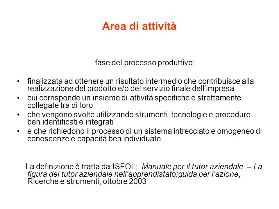 Area di attività fase del processo produttivo; finalizzata ad ottenere un risultato intermedio che contribuisce alla realizzazione del prodotto e/o de
