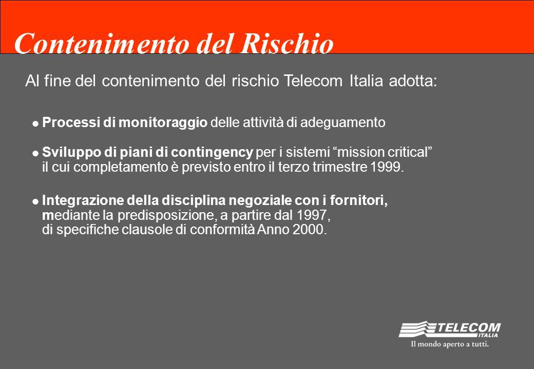 Contenimento del Rischio Al fine del contenimento del rischio Telecom Italia adotta: Processi di monitoraggio delle attività di adeguamento Sviluppo di piani di contingency per i sistemi mission critical il cui completamento è previsto entro il terzo trimestre 1999.