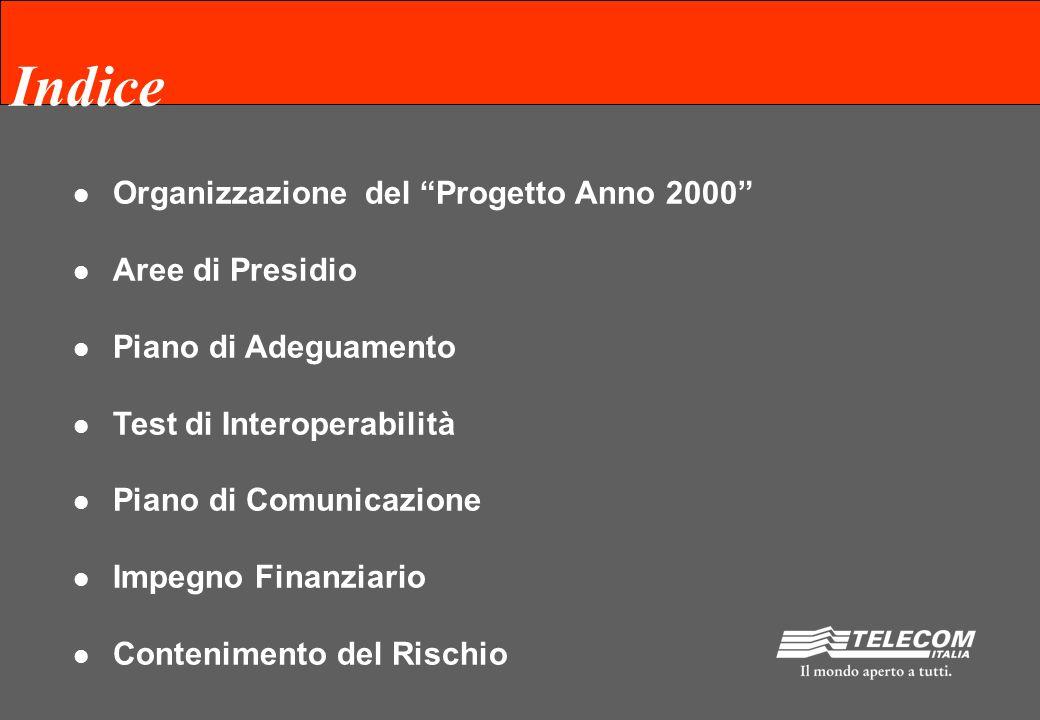 Indice Organizzazione del Progetto Anno 2000 Aree di Presidio Piano di Adeguamento Test di Interoperabilità Piano di Comunicazione Impegno Finanziario Contenimento del Rischio