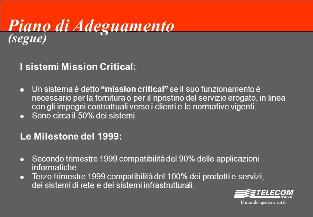 Piano di Adeguamento I sistemi Mission Critical: Un sistema è detto mission critical se il suo funzionamento è necessario per la fornitura o per il ripristino del servizio erogato, in linea con gli impegni contrattuali verso i clienti e le normative vigenti.