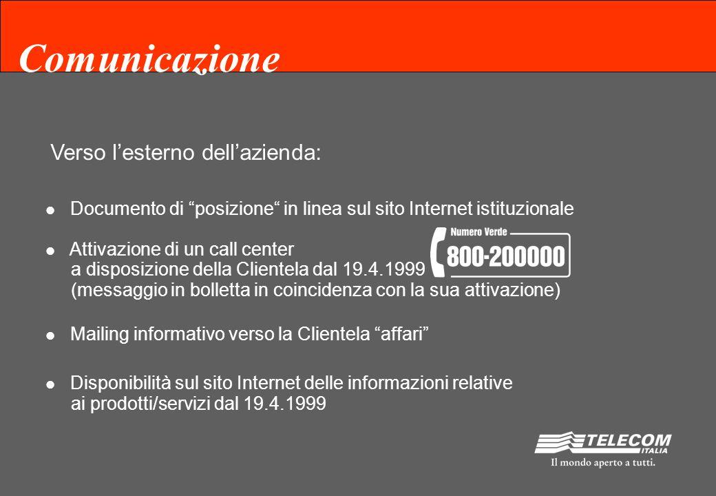 Comunicazione Verso linterno dellazienda: Informativa al front-end Comunicazione ai dipendenti anche tramite il sito Intranet Aziendale Articoli sulla Stampa Aziendale (segue)