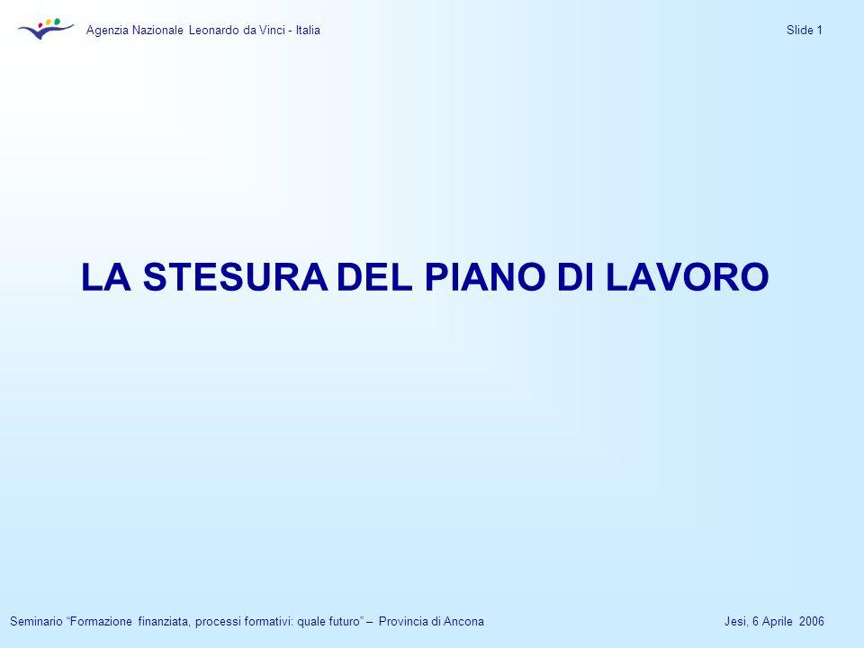 Agenzia Nazionale Leonardo da Vinci - Italia Jesi, 6 Aprile 2006Seminario Formazione finanziata, processi formativi: quale futuro – Provincia di Ancona Slide 1 LA STESURA DEL PIANO DI LAVORO