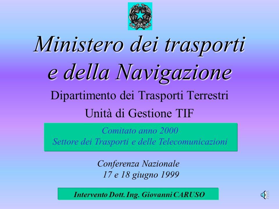 Ministero dei trasporti e della Navigazione Dipartimento dei Trasporti Terrestri Unità di Gestione TIF Intervento Dott.