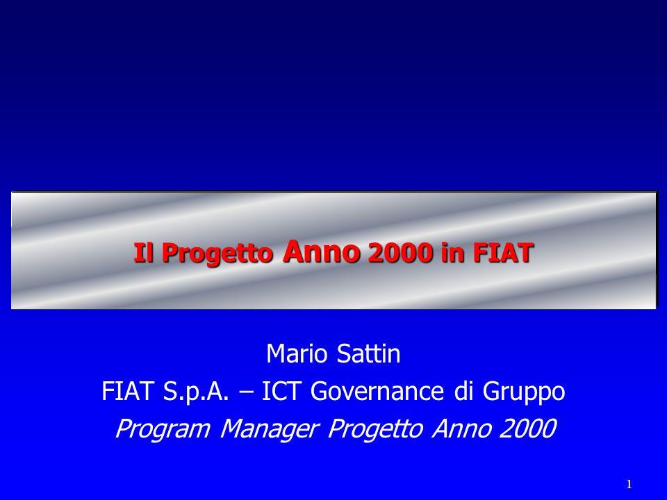 1 Il Progetto Anno 2000 in FIAT Mario Sattin FIAT S.p.A. – ICT Governance di Gruppo Program Manager Progetto Anno 2000