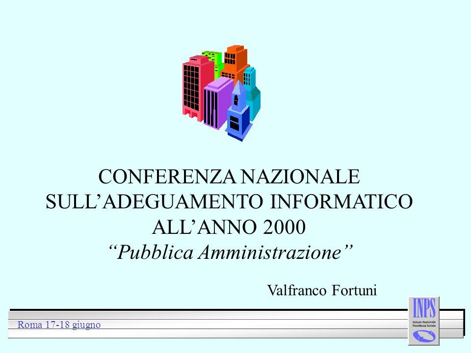 CONFERENZA NAZIONALE SULLADEGUAMENTO INFORMATICO ALLANNO 2000 Pubblica Amministrazione Roma 17-18 giugno Valfranco Fortuni