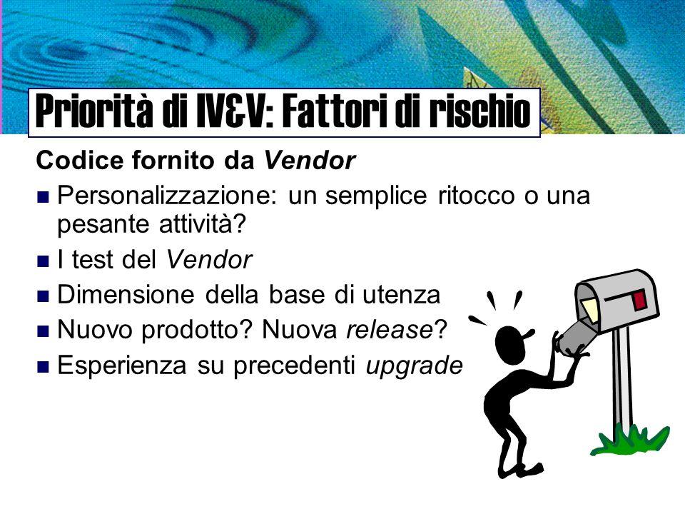 Priorità di IV&V: Fattori di rischio Codice fornito da Vendor n Personalizzazione: un semplice ritocco o una pesante attività.