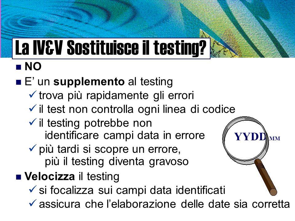 La IV&V Sostituisce il testing.