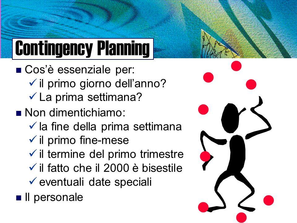 Contingency Planning n Cosè essenziale per: il primo giorno dellanno.