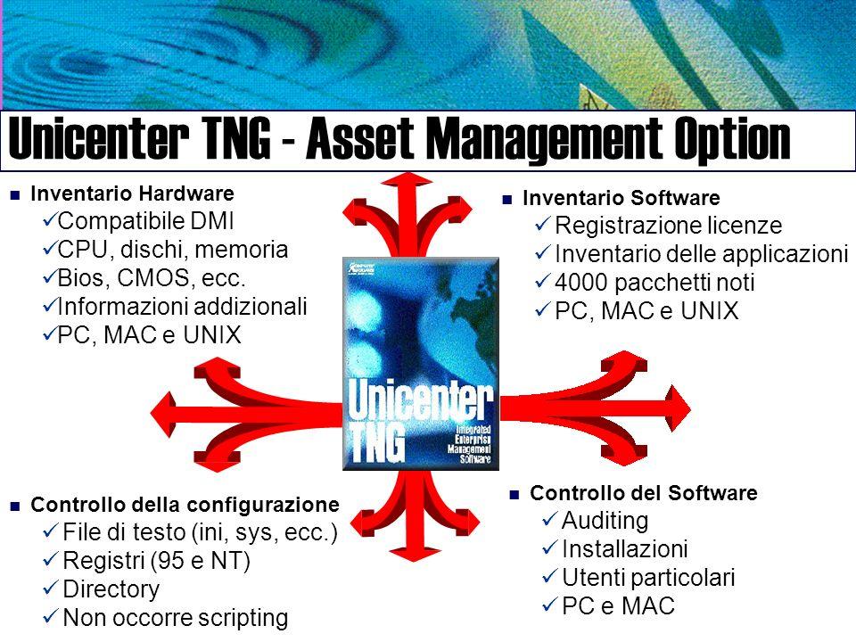 n Inventario Hardware Compatibile DMI CPU, dischi, memoria Bios, CMOS, ecc.