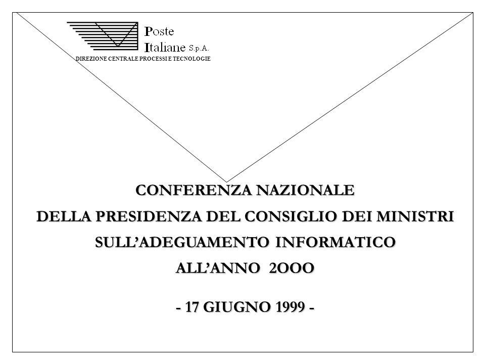 DIREZIONE CENTRALE PROCESSI E TECNOLOGIE CONFERENZA NAZIONALE DELLA PRESIDENZA DEL CONSIGLIO DEI MINISTRI SULLADEGUAMENTO INFORMATICO ALLANNO 2OOO - 1