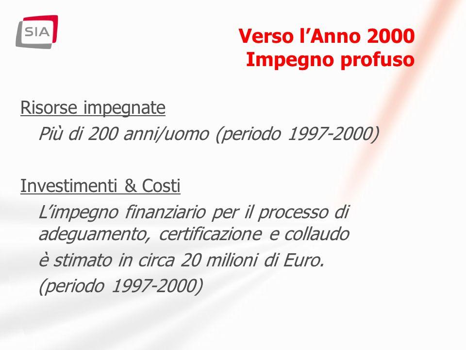 Verso lAnno 2000 Controllo del rischio I sistemi centrali devono funzionare - Recovery delle infrastrutture - Procedure di emergenza - Intervento e presidio Contingency Plan per gli operatori Crisis Management Monitoraggio & controllo