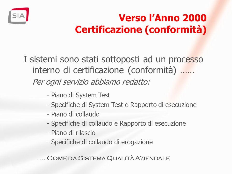 Verso lAnno 2000 Certificazione (conformità) I sistemi sono stati sottoposti ad un processo interno di certificazione (conformità) …… Per ogni servizio abbiamo redatto: - Piano di System Test - Specifiche di System Test e Rapporto di esecuzione - Piano di collaudo - Specifiche di collaudo e Rapporto di esecuzione - Piano di rilascio - Specifiche di collaudo di erogazione …..