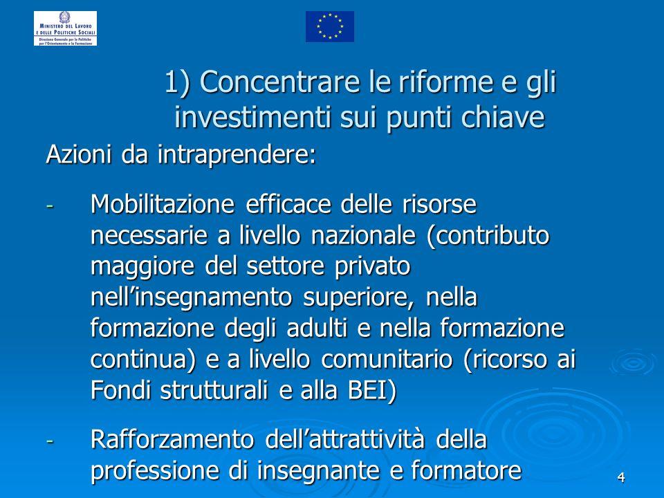 4 1) Concentrare le riforme e gli investimenti sui punti chiave Azioni da intraprendere: - Mobilitazione efficace delle risorse necessarie a livello n