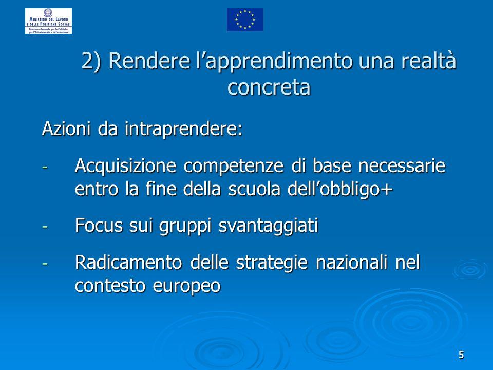 5 2) Rendere lapprendimento una realtà concreta Azioni da intraprendere: - Acquisizione competenze di base necessarie entro la fine della scuola dellobbligo+ - Focus sui gruppi svantaggiati - Radicamento delle strategie nazionali nel contesto europeo