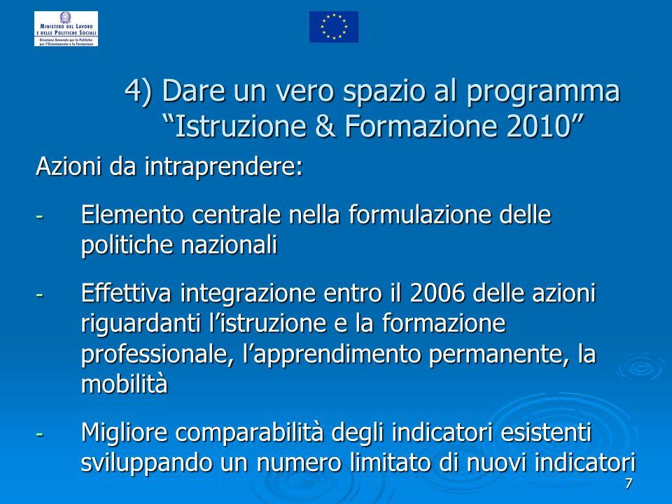 7 4) Dare un vero spazio al programma Istruzione & Formazione 2010 Azioni da intraprendere: - Elemento centrale nella formulazione delle politiche naz