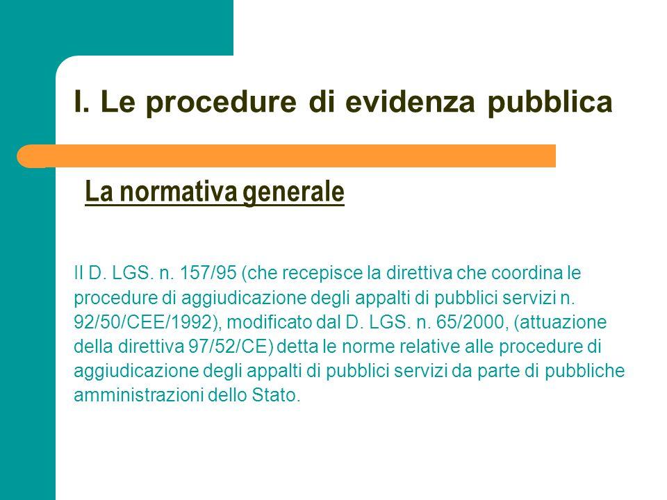 N N. 23 I. Le procedure di evidenza pubblica Il D. LGS. n. 157/95 (che recepisce la direttiva che coordina le procedure di aggiudicazione degli appalt