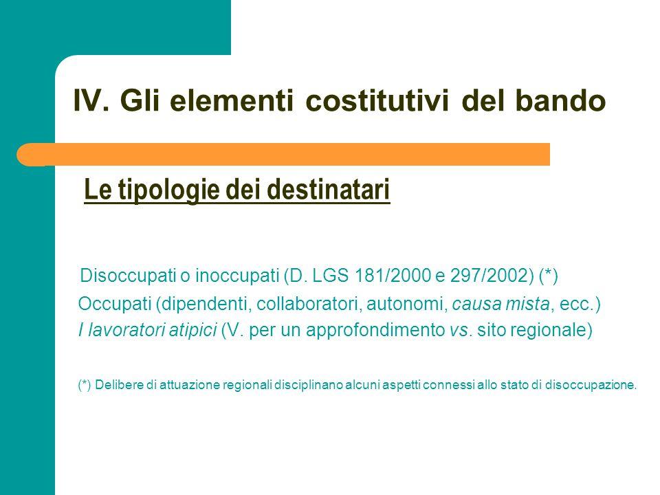 N N. 62 IV. Gli elementi costitutivi del bando Disoccupati o inoccupati (D. LGS 181/2000 e 297/2002) (*) Occupati (dipendenti, collaboratori, autonomi