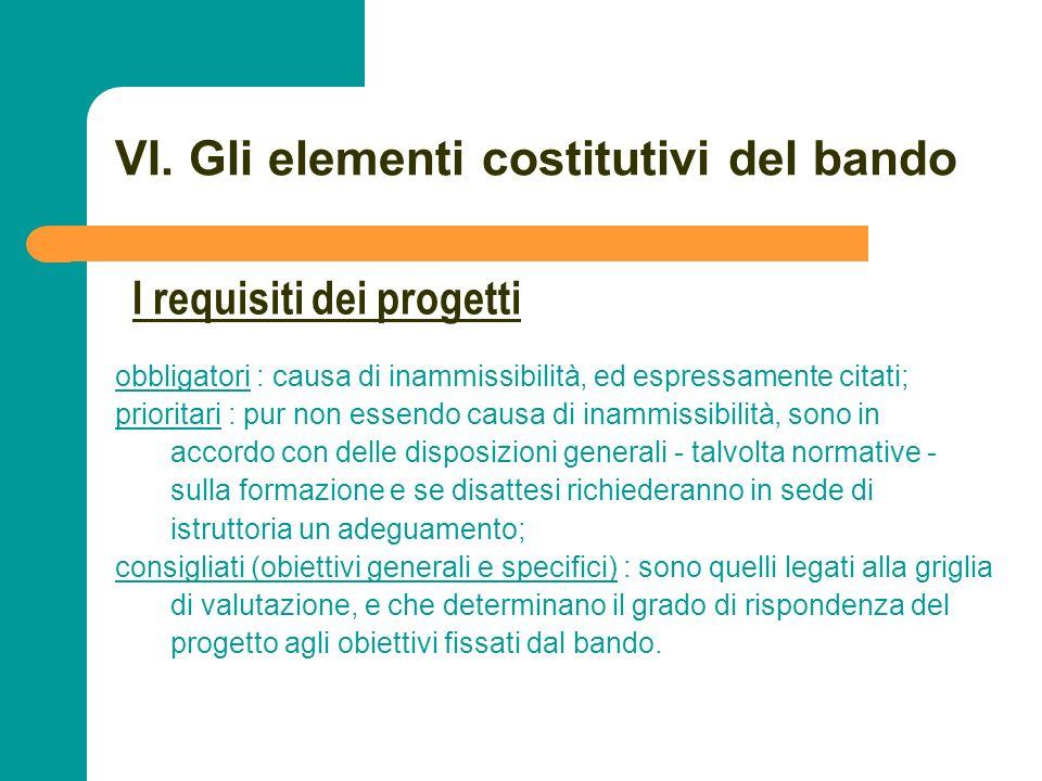 N N. 66 VI. Gli elementi costitutivi del bando obbligatori : causa di inammissibilità, ed espressamente citati; prioritari : pur non essendo causa di
