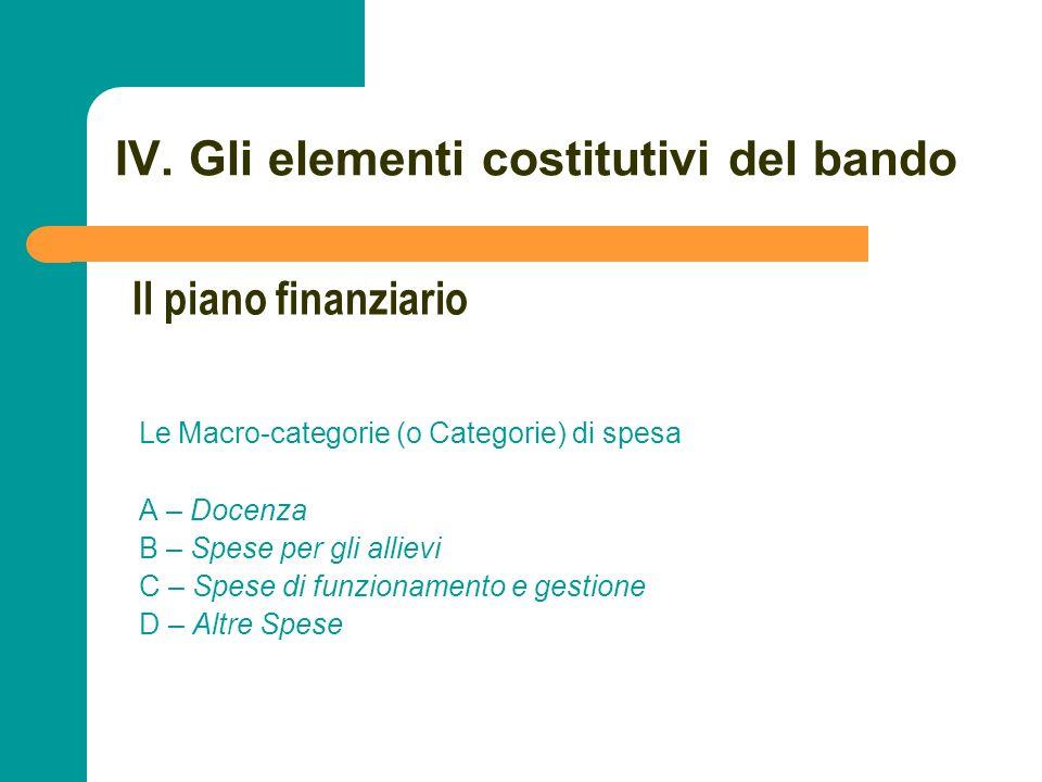 N N. 70 IV. Gli elementi costitutivi del bando Le Macro-categorie (o Categorie) di spesa A – Docenza B – Spese per gli allievi C – Spese di funzioname
