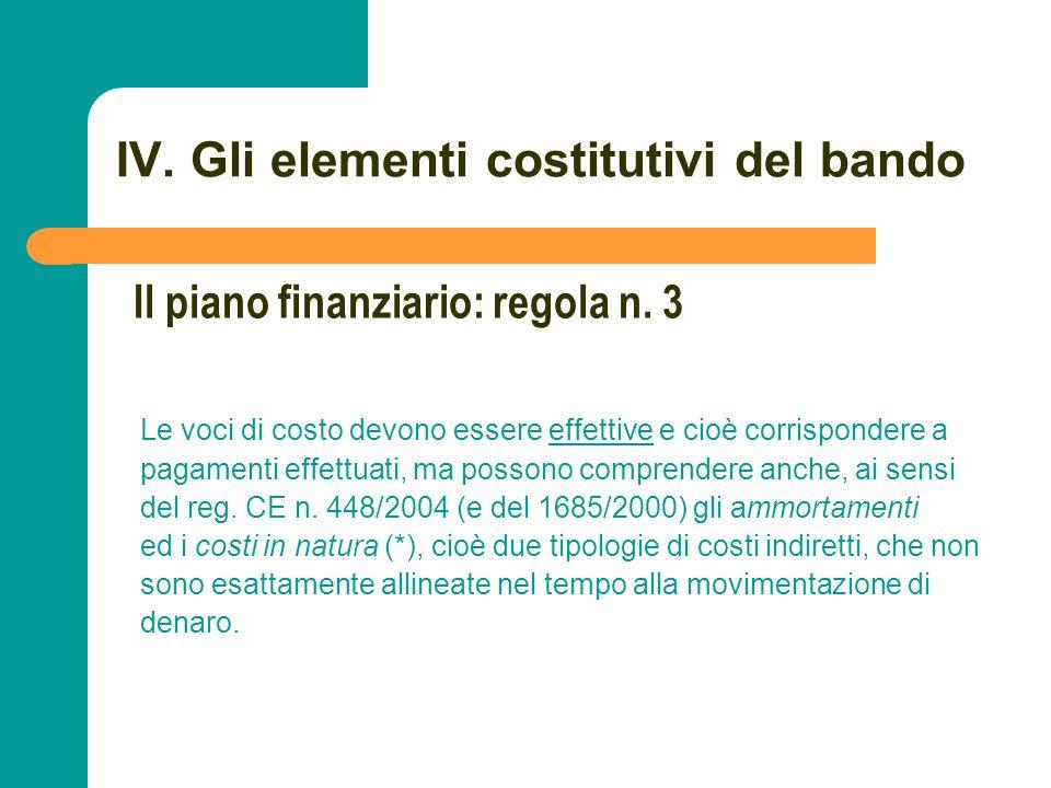 N N. 73 IV. Gli elementi costitutivi del bando Le voci di costo devono essere effettive e cioè corrispondere a pagamenti effettuati, ma possono compre