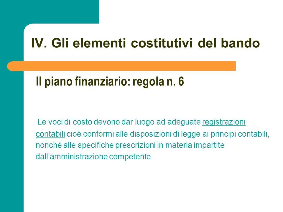 N N. 76 IV. Gli elementi costitutivi del bando Le voci di costo devono dar luogo ad adeguate registrazioni contabili cioè conformi alle disposizioni d