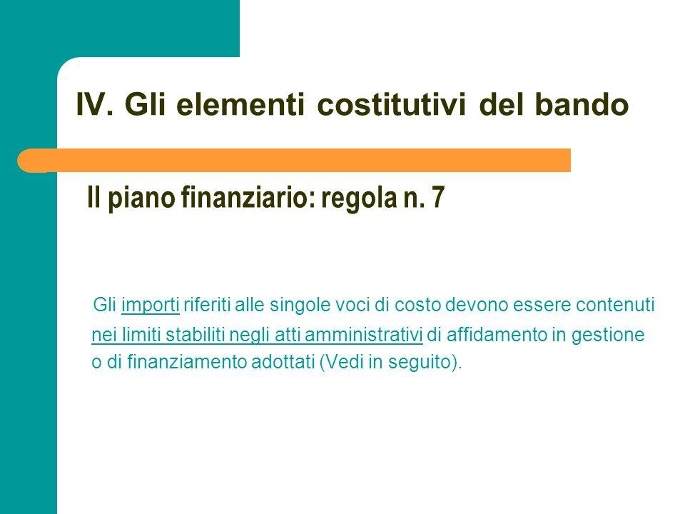 N N. 77 IV. Gli elementi costitutivi del bando Gli importi riferiti alle singole voci di costo devono essere contenuti nei limiti stabiliti negli atti