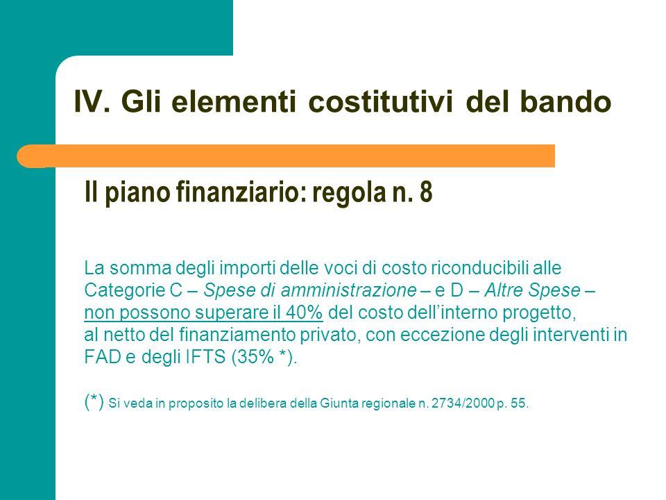 N N. 78 IV. Gli elementi costitutivi del bando La somma degli importi delle voci di costo riconducibili alle Categorie C – Spese di amministrazione –