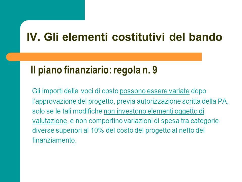 N N. 79 IV. Gli elementi costitutivi del bando Gli importi delle voci di costo possono essere variate dopo lapprovazione del progetto, previa autorizz