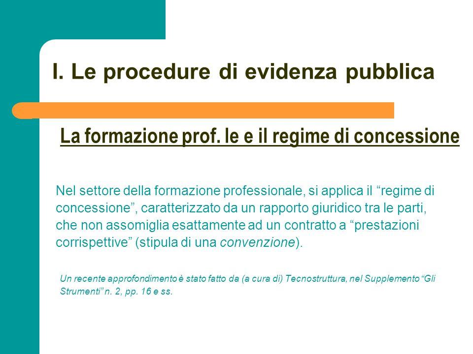 N N. 26 I. Le procedure di evidenza pubblica Nel settore della formazione professionale, si applica il regime di concessione, caratterizzato da un rap