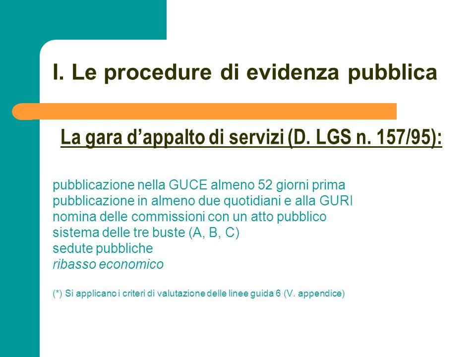 N N. 27 I. Le procedure di evidenza pubblica pubblicazione nella GUCE almeno 52 giorni prima pubblicazione in almeno due quotidiani e alla GURI nomina