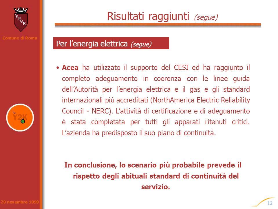 12 Risultati raggiunti (segue) Acea ha utilizzato il supporto del CESI ed ha raggiunto il completo adeguamento in coerenza con le linee guida dellAuto