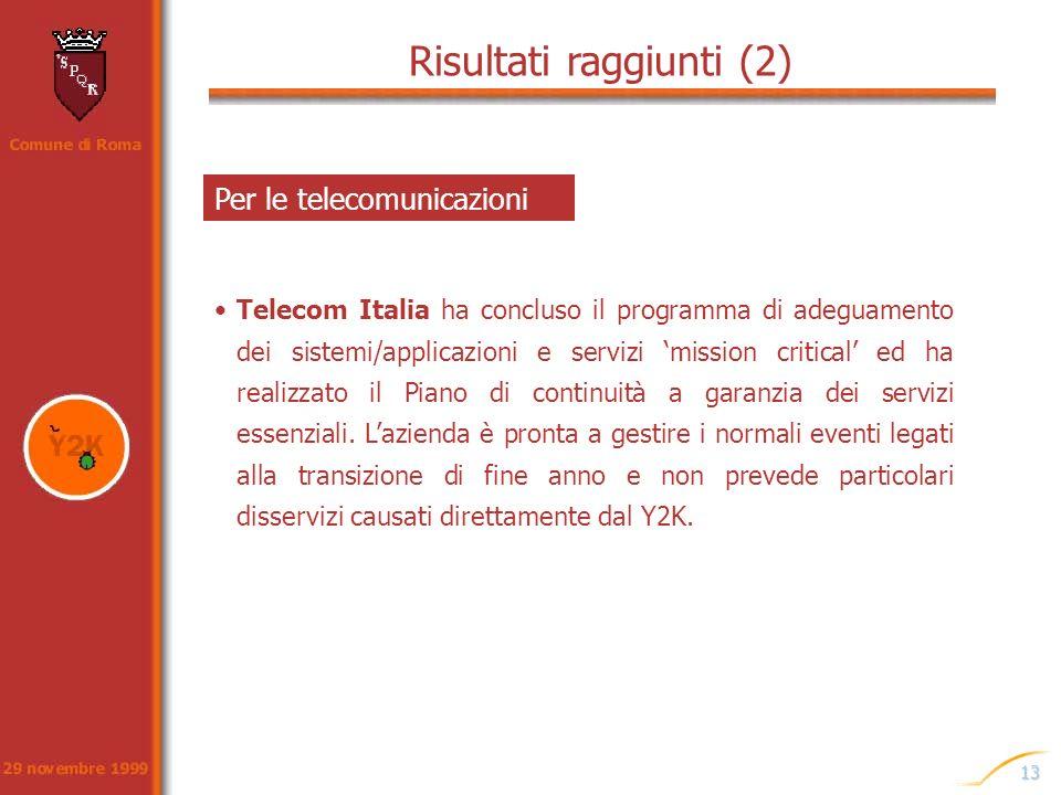 13 Risultati raggiunti (2) Telecom Italia ha concluso il programma di adeguamento dei sistemi/applicazioni e servizi mission critical ed ha realizzato