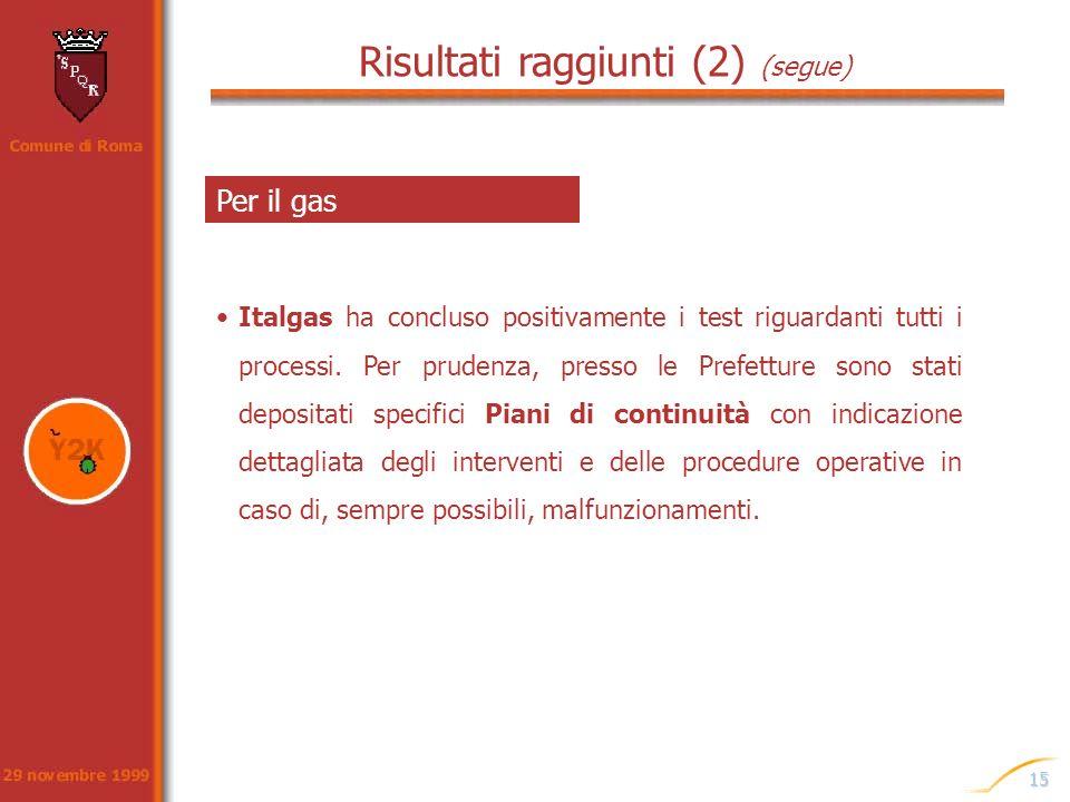 15 Italgas ha concluso positivamente i test riguardanti tutti i processi. Per prudenza, presso le Prefetture sono stati depositati specifici Piani di
