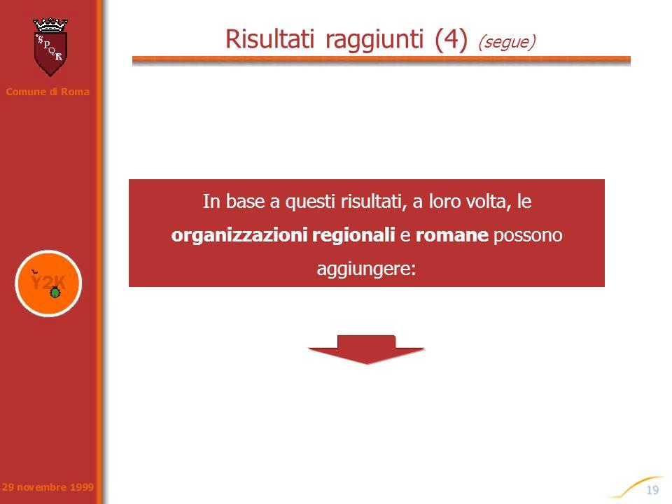 19 Risultati raggiunti (4) (segue) In base a questi risultati, a loro volta, le organizzazioni regionali e romane possono aggiungere: