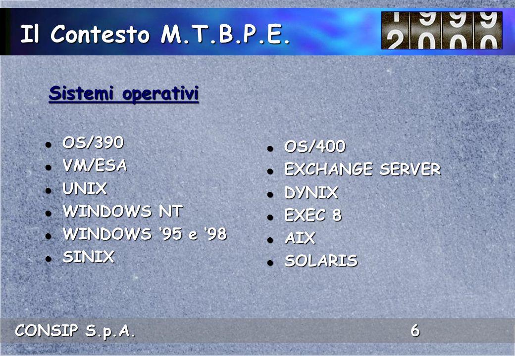 CONSIP S.p.A. 6 Il Contesto M.T.B.P.E. l OS/390 l VM/ESA l UNIX l WINDOWS NT l WINDOWS 95 e 98 l SINIX l OS/400 l EXCHANGE SERVER l DYNIX l EXEC 8 l A