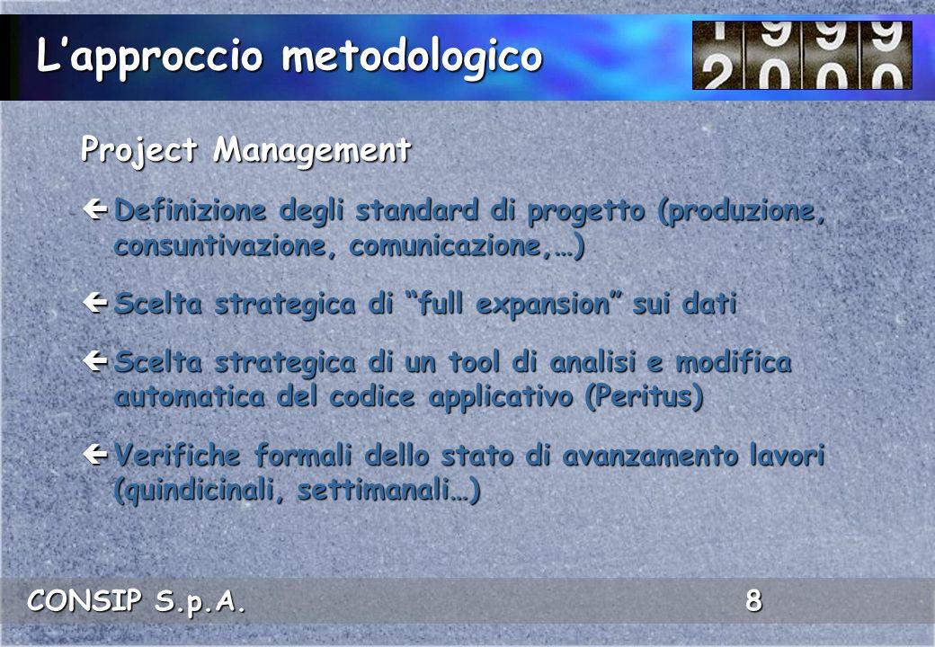 CONSIP S.p.A. 8 Project Management ç Definizione degli standard di progetto (produzione, consuntivazione, comunicazione,…) ç Scelta strategica di full