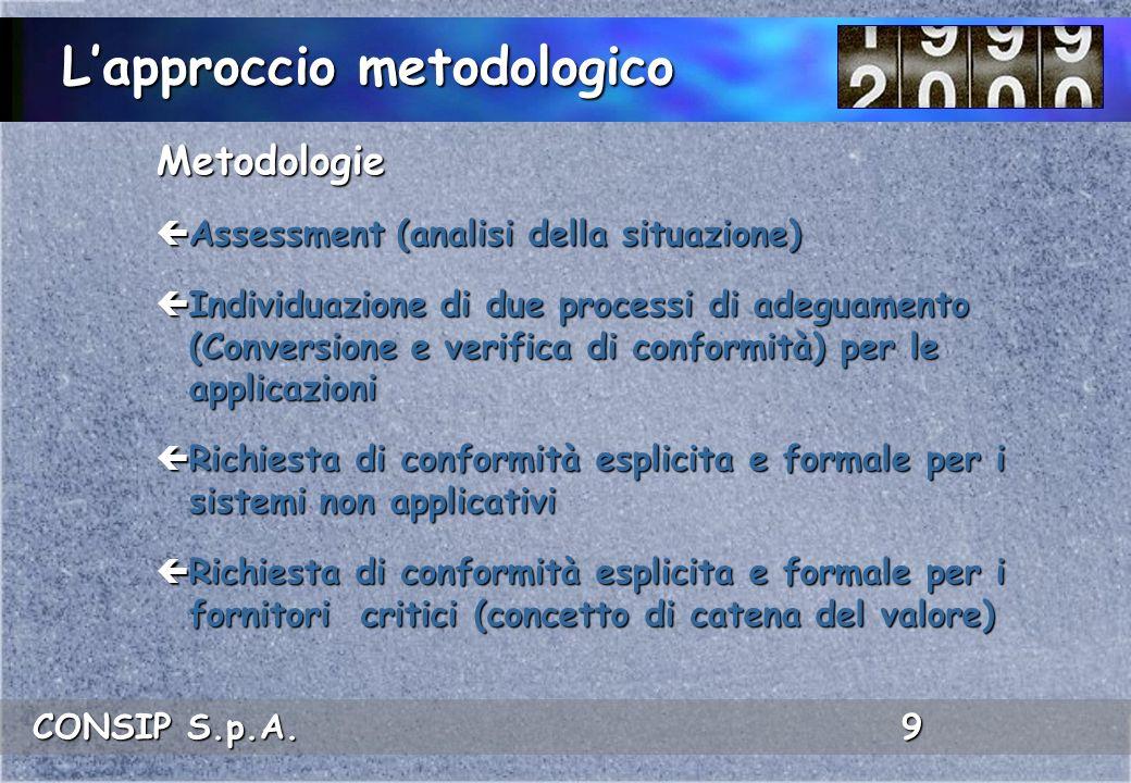 CONSIP S.p.A. 9 Metodologie ç Assessment (analisi della situazione) ç Individuazione di due processi di adeguamento (Conversione e verifica di conform
