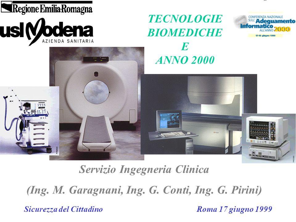 Servizio Ingegneria Clinica (Ing. M. Garagnani, Ing. G. Conti, Ing. G. Pirini) Sicurezza del Cittadino Roma 17 giugno 1999 TECNOLOGIE BIOMEDICHE E ANN