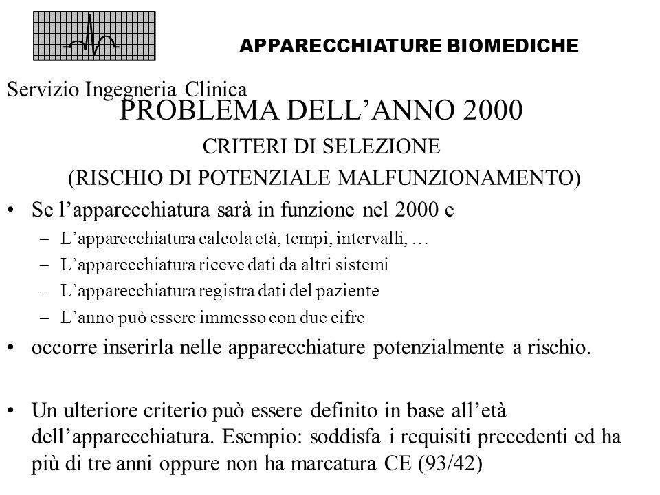 PROBLEMA DELLANNO 2000 CRITERI DI SELEZIONE (RISCHIO DI POTENZIALE MALFUNZIONAMENTO) Se lapparecchiatura sarà in funzione nel 2000 e –Lapparecchiatura