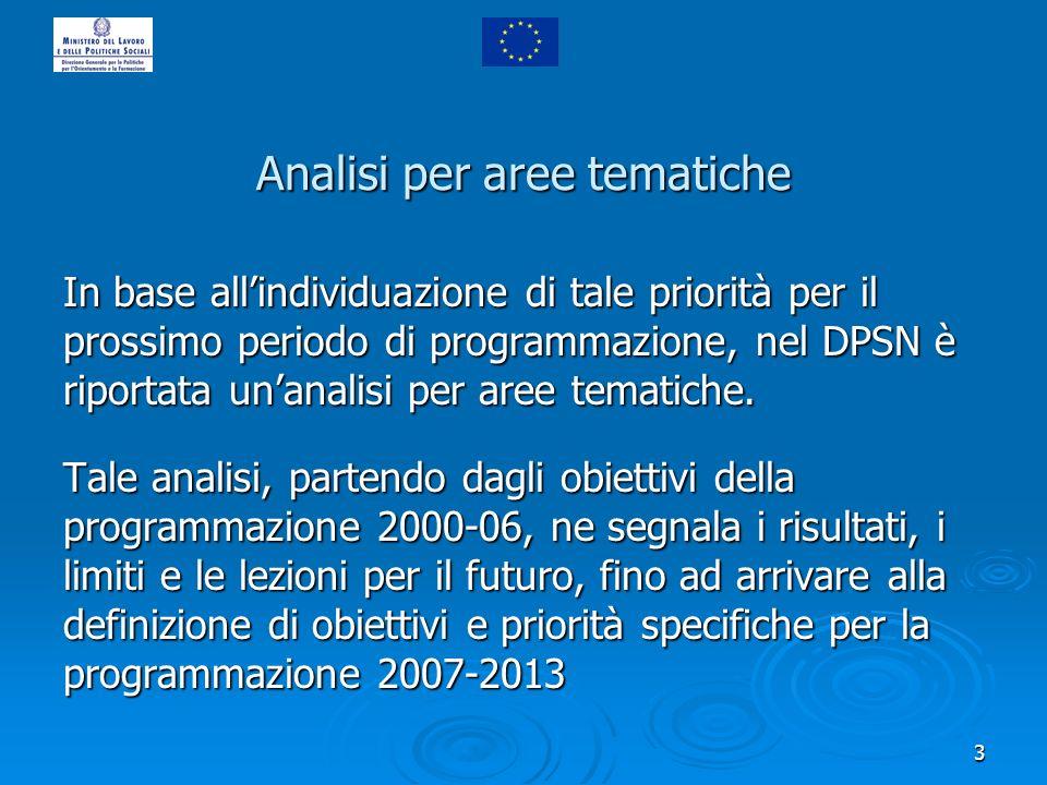 3 Analisi per aree tematiche In base allindividuazione di tale priorità per il prossimo periodo di programmazione, nel DPSN è riportata unanalisi per aree tematiche.
