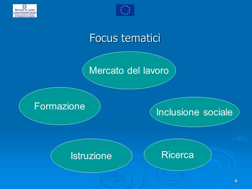 4 Mercato del lavoro Formazione Istruzione Inclusione sociale Ricerca Focus tematici